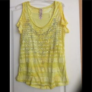 Yellow color sheer/Cami  top plus size 1X(2/$18)
